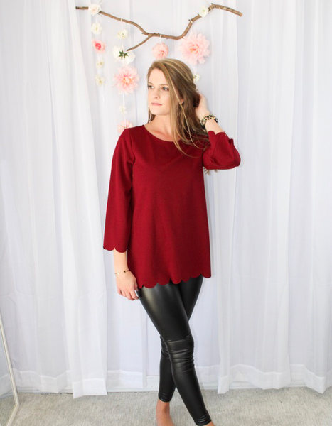 Burgundy Scalloped Top
