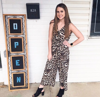 Leopard Jumpsuit v-neck