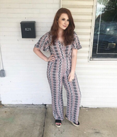 Taupe Patterned Jumpsuit