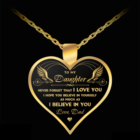 to my daughter from dad heart necklace