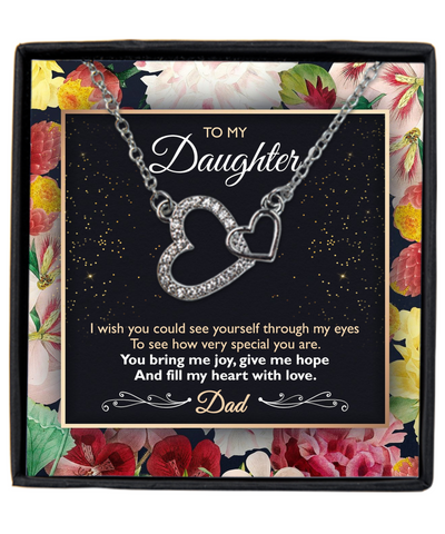 To my daughter from dad message card necklace