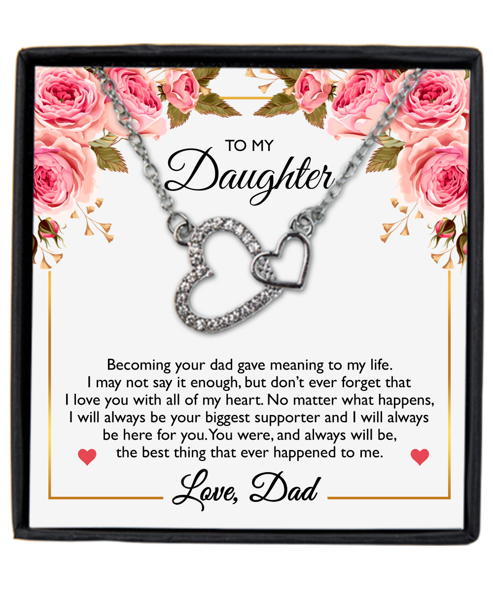 Necklace for daughter - Message Card Necklace - Your Biggest Supporter - Sweet Dad Gift