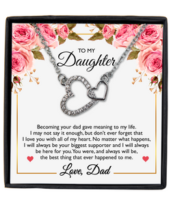 To My Daughter From Dad Message Card Necklace- Your Biggest Supporter