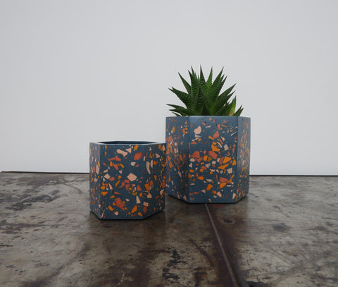 Terrazzo plant pot in navy and pink| geometric planter