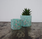 Limited Edition Terrazzo plant pot in mint and pink| geometric planter
