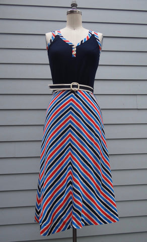 Vintage Chevron Striped Dress Small