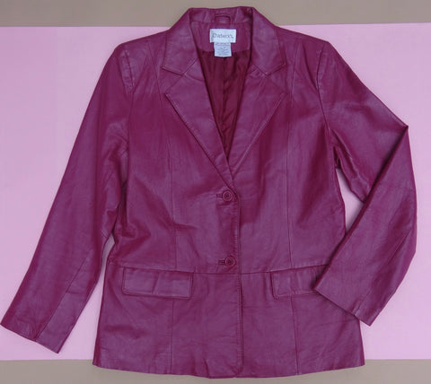 Y2K Magenta Leather Blazer Jacket Large