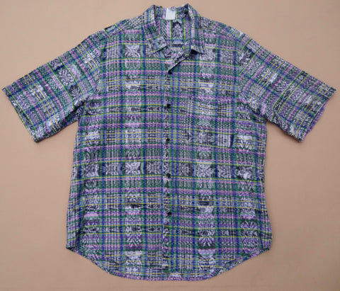 Vintage Lake Atitlan Handwoven Shirt Large