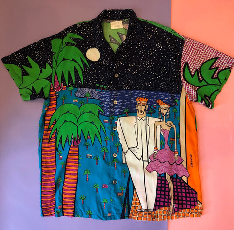 RARE VINTAGE 1986 ESPRIT MEN'S SHIRT w/JOEL RESNICOFF ILLUSTRATIONS