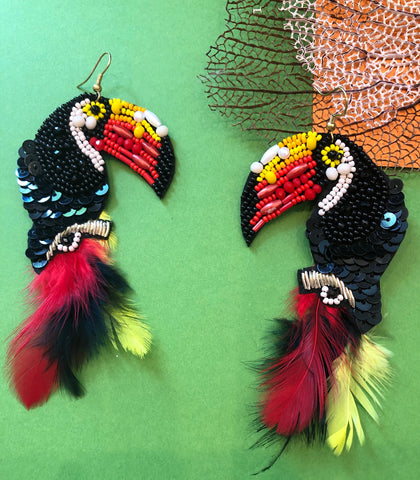 Beaded Toucan Earrings