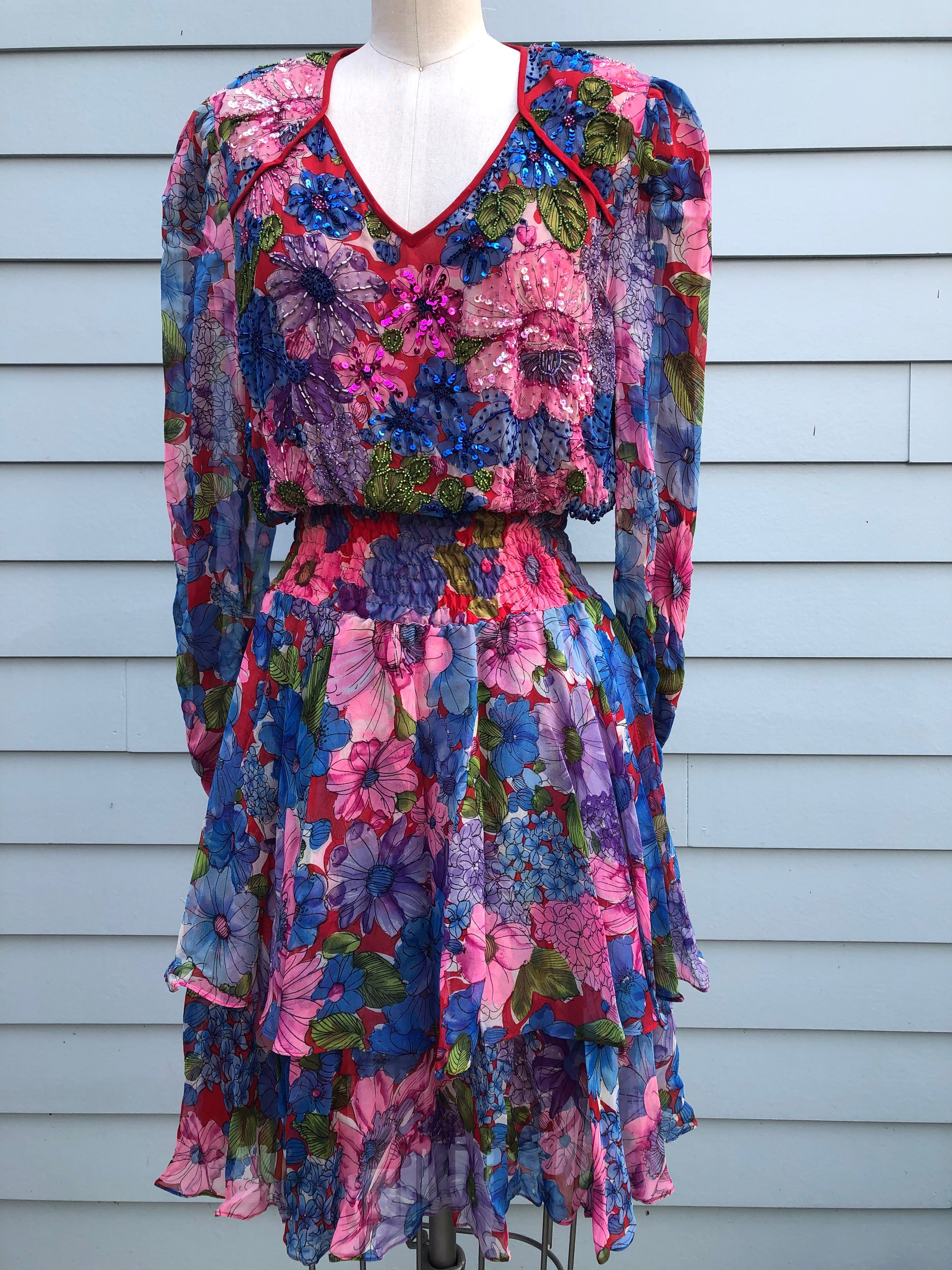 Diane Freis 100% Silk Floral dress