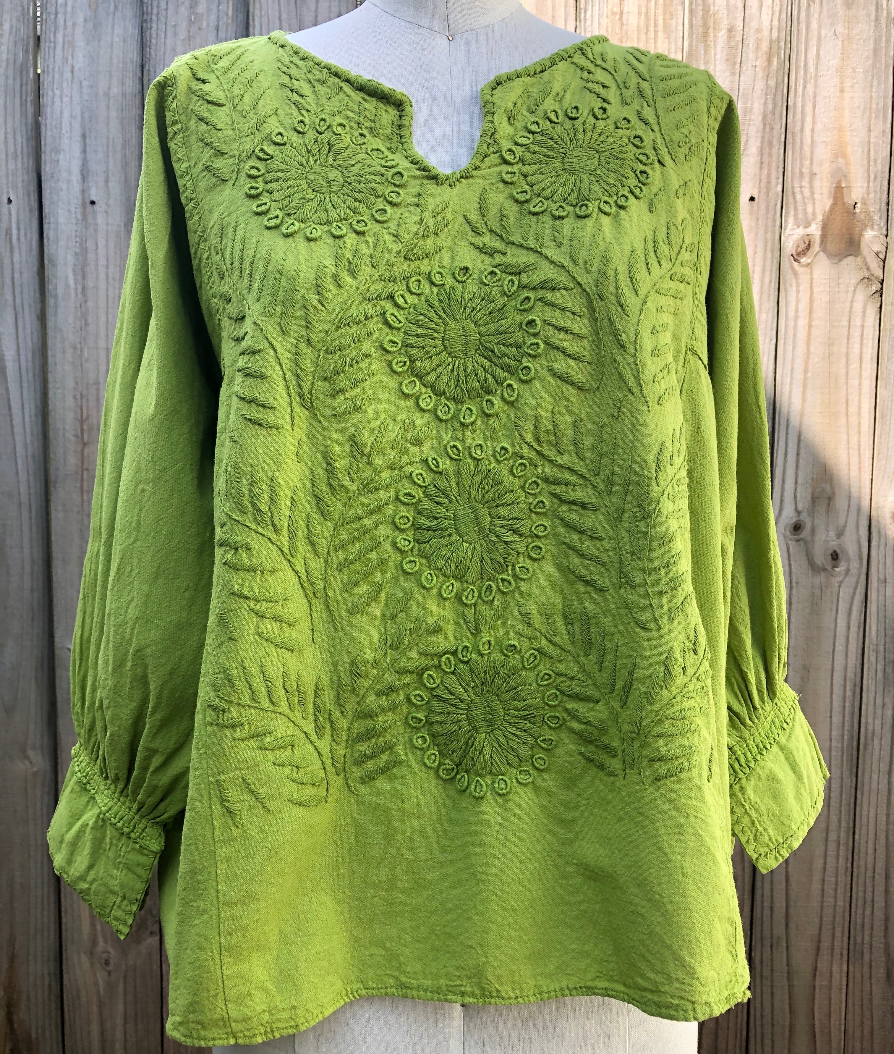 Lime Embroidered Floral Top M/L