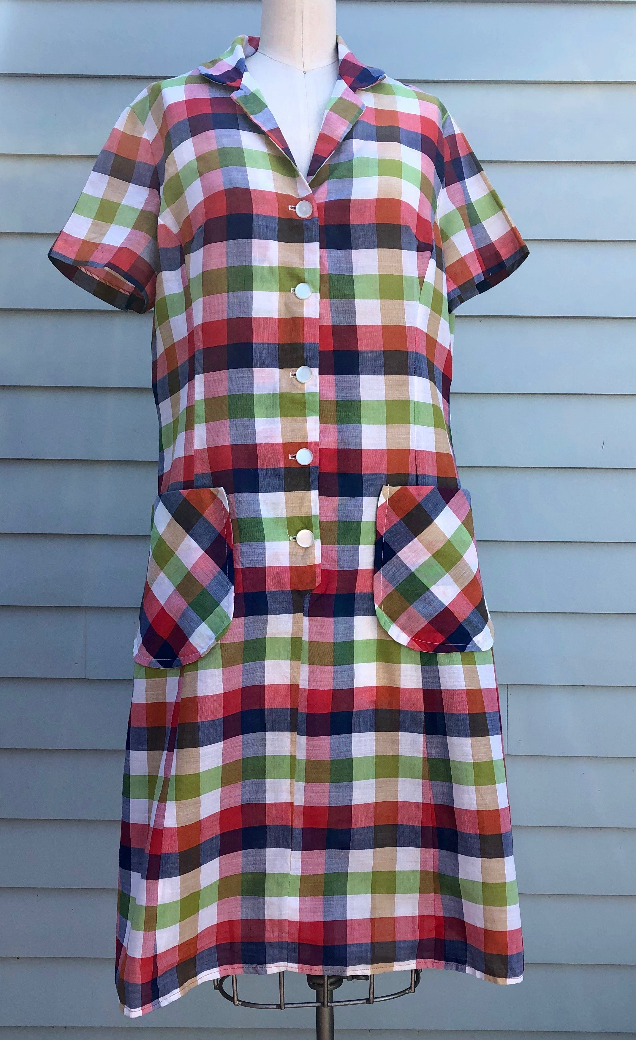 Vintage Plaid Dress M/L 1960's