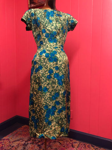 Vintage Blue and Green Floral Wiggle Dress by Roos Atkins