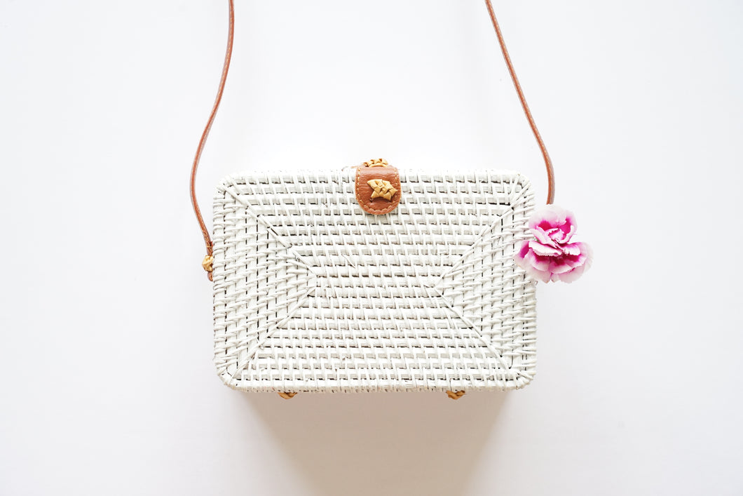 Rectangle Handwoven Straw Bag in White