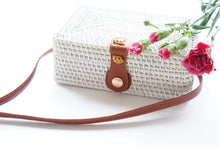 Load image into Gallery viewer, Rectangle Handwoven Straw Bag in White