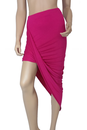 Asymmetrical Draped Skirt Pink - Rumor Apparel