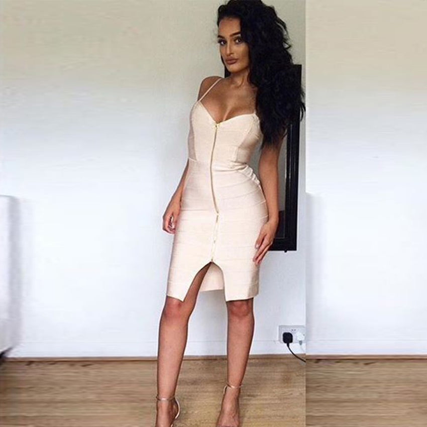 Sleeveless Zip Front Bandage Dress