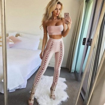 Two Piece Lace Up Bandage Pant Set