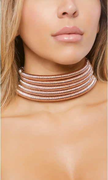 Stacked Coil Choker - Rose Gold