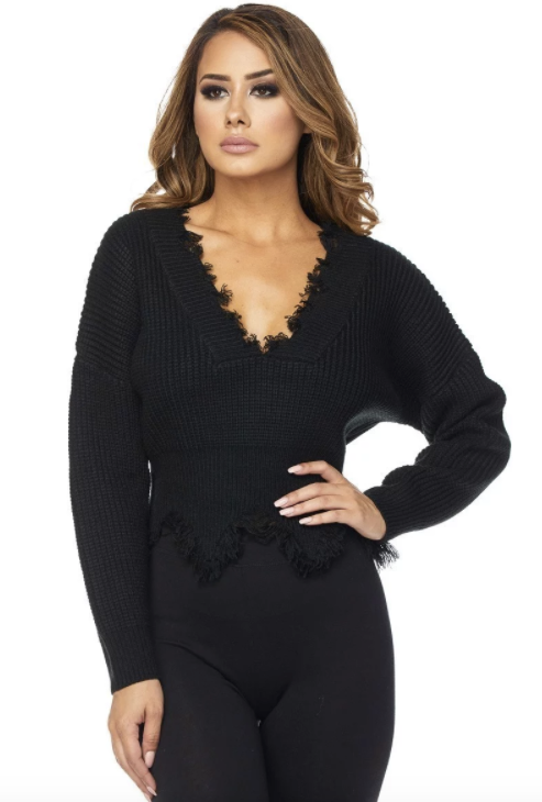 Deep V Neck Distressed Sweater - Black - Rumor Apparel