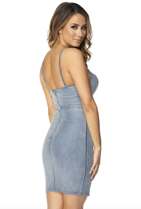 Spaghetti Strap Denim Mini Dress - Rumor Apparel
