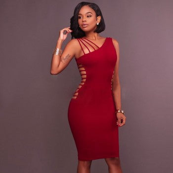 One Shoulder Cutout Bandage Dress - Wine - Rumor Apparel