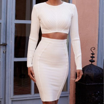 Two Piece Long Sleeve Crop Top & Skirt - Rumor Apparel