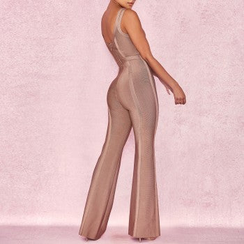 Sleeveless V Neck Bandage Jumpsuit - Rumor Apparel