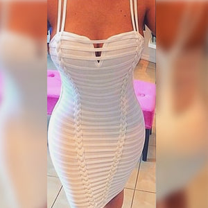 White Strappy Mini Bandage Dress