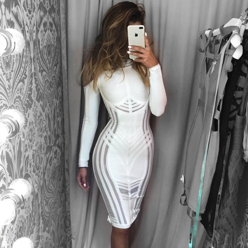 Long Sleeve Cold Shoulder Bandage Dress - Rumor Apparel