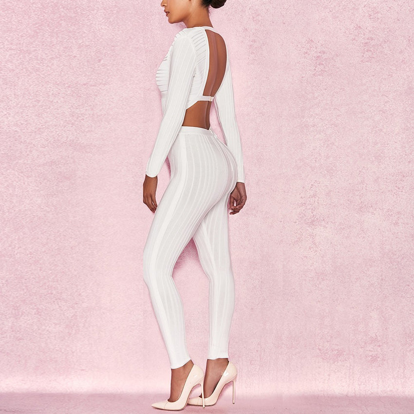 Long Sleeve Plunge Neck White Bandage Jumpsuit - Rumor Apparel