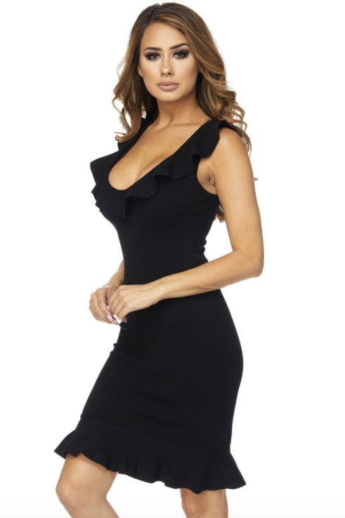 Sleeveless Ruffle Dress - Black