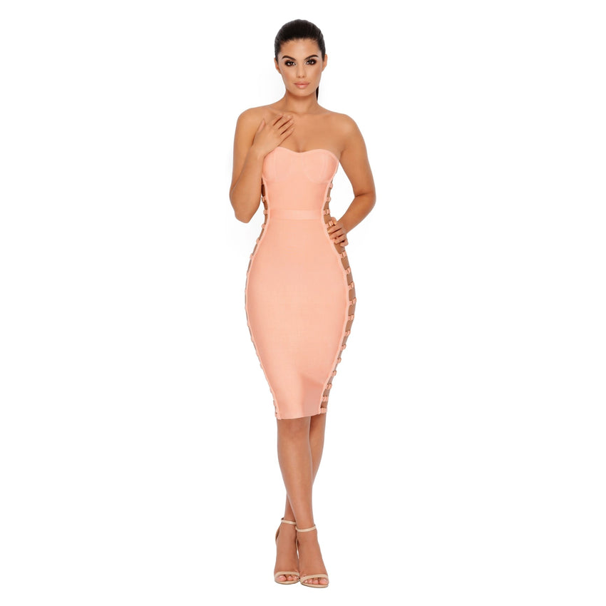 Strapless Side Cutout Bandage Dress
