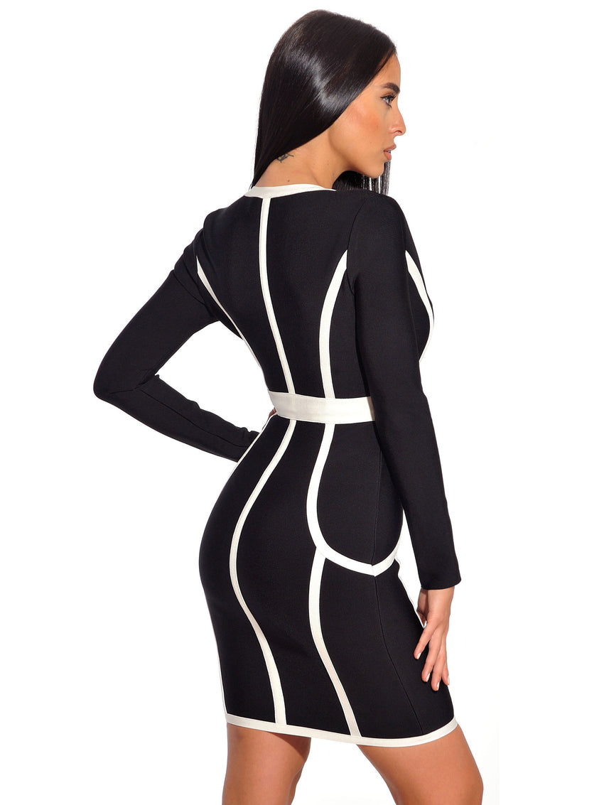 Long Sleeve Deep V Bandage Dress - Rumor Apparel