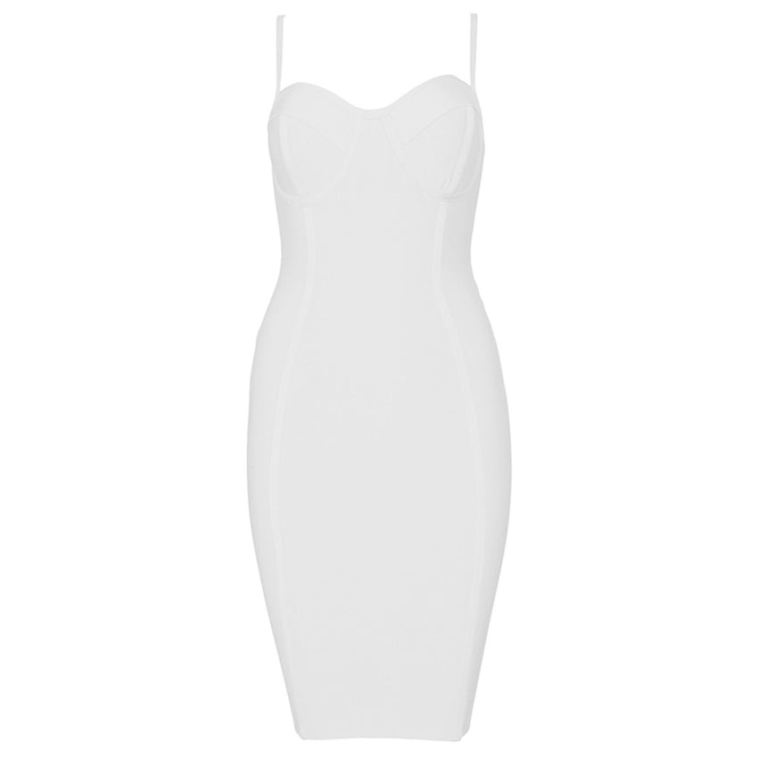 Spaghetti Strap Bandage Dress - White