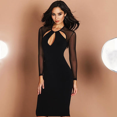 Long Mesh Sleeve Cutout Bandage Dress - Black
