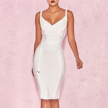 Tie Waist Bandage Dress - White - Rumor Apparel
