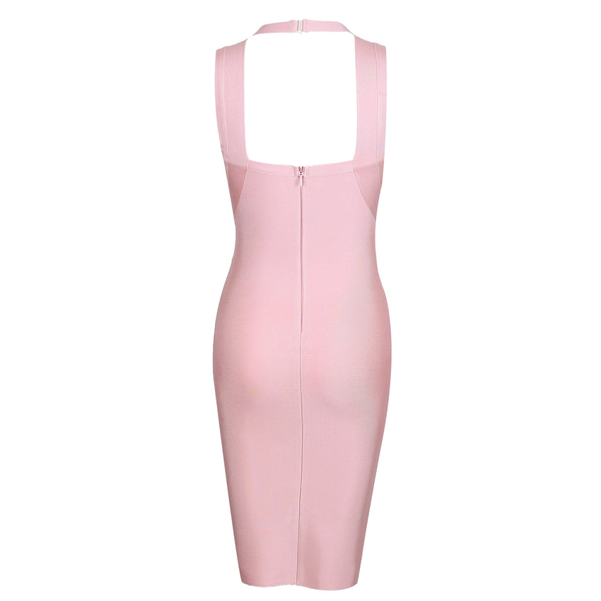 Sleeveless Midi Bandage Dress - Pink