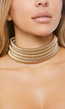 Stacked Coil Choker - Gold