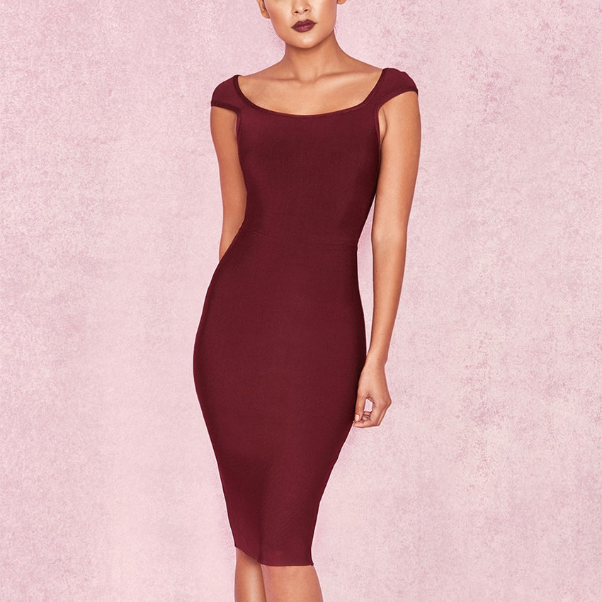 Short Sleeve Round Neck Bandage Dress - Wine
