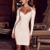 Long Sleeve V Neck Halter Bandage Dress