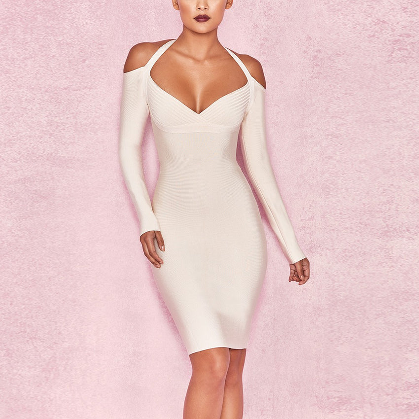Long Sleeve V Neck Halter Bandage Dress - Rumor Apparel