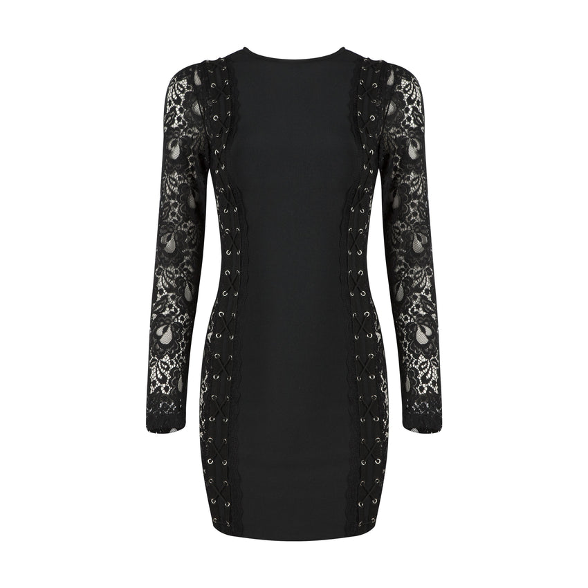 Long Sleeve High Neck Lace Bandage Dress - Rumor Apparel