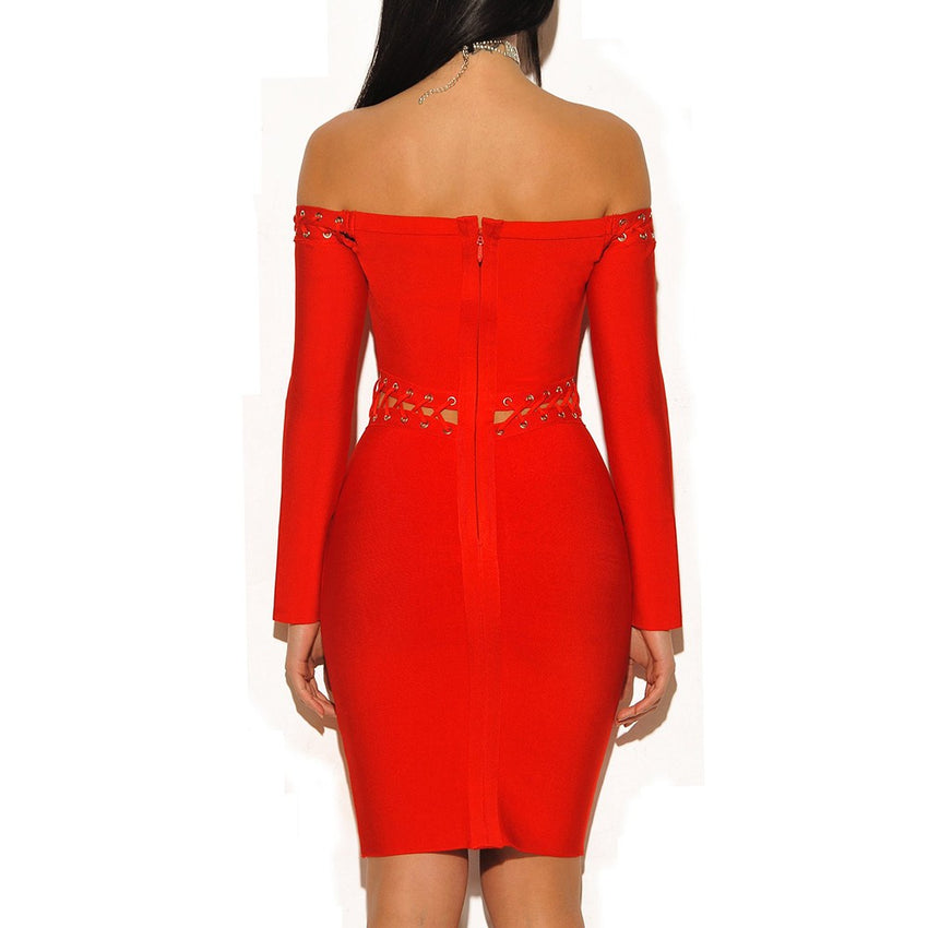 Red Lace Up Lattice Detail Off Shoulder Long Sleeve Bandage Dress