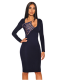 Contrast Detail Cut Out Asymmetrical Navy Long Sleeve Stretch Crepe Dress - Rumor Apparel