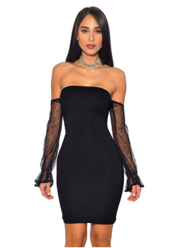 Black Strapless Mesh Off Shoulder Sleeve Stretch Crepe Dress - Rumor Apparel