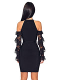 Black Lace Sleeve Cut Out Shoulder Bandage Dress - Rumor Apparel