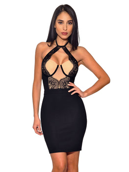 Lace Detail Bustier High Neck Tie Stretch Crepe Dress - Rumor Apparel