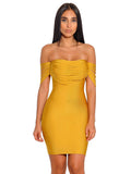 Yellow Fringe Off Shoulder Bandage Dress